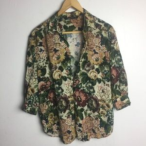 Zara Woman Floral 3/4 Sleeve Plunge Neck Top